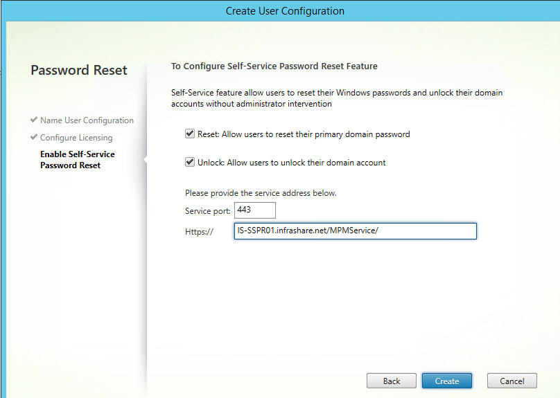 Configure Citrix Self Service Password Reset for StoreFront