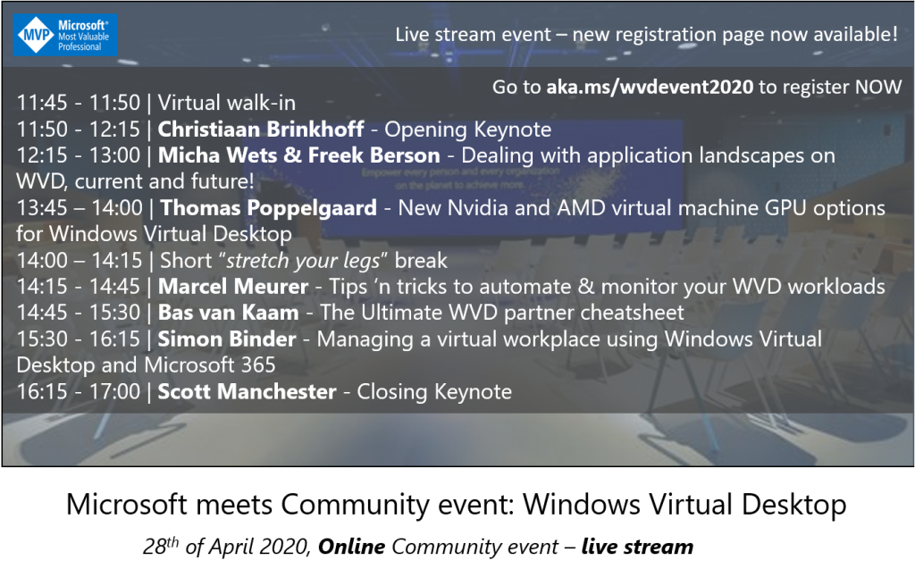 (ONLINE EVENT) Microsoft meets Community event: Windows Virtual Desktop