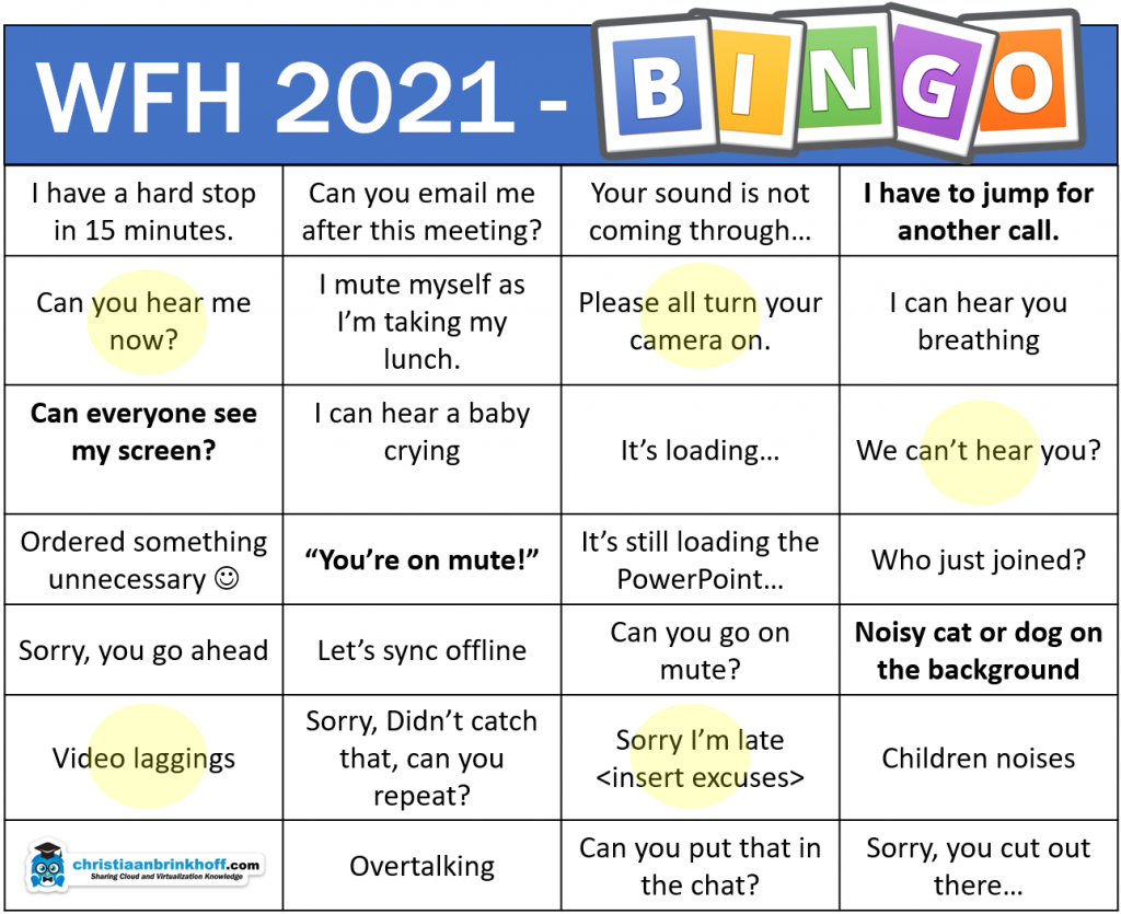 BINGO – WFH 2021 edition! Let's have some fun. Do you recognize some?