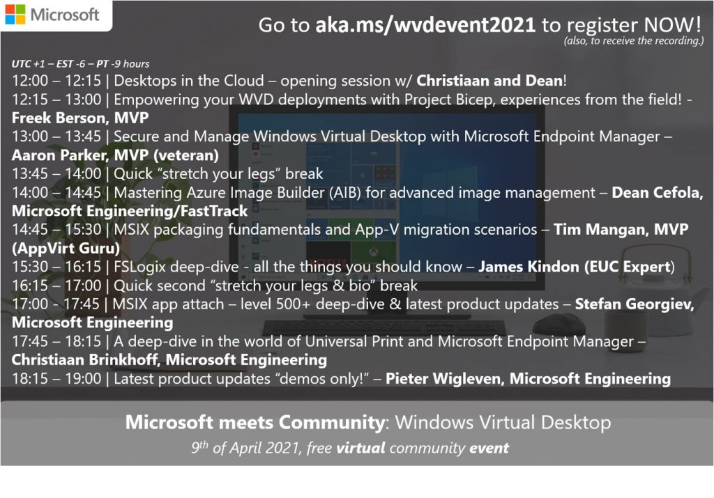 ANNOUNCEMENT. Microsoft meets Community: Windows Virtual Desktop | 4th edition. Click here to register.
