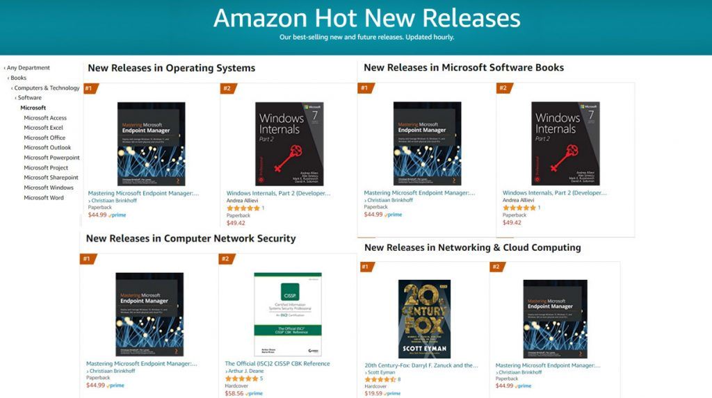 Our book is rewarded as #1 best hot new books on Amazon in 3 different categories (OS/Microsoft books/Networking). Just amazing.
